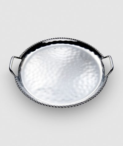 HPA 021-Paloma Round Serve Tray with Braided Wire and Handles