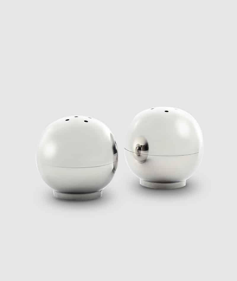 "BHL 003.1 - Helios White Nickel Ball Salt & Pepper Set 2"""