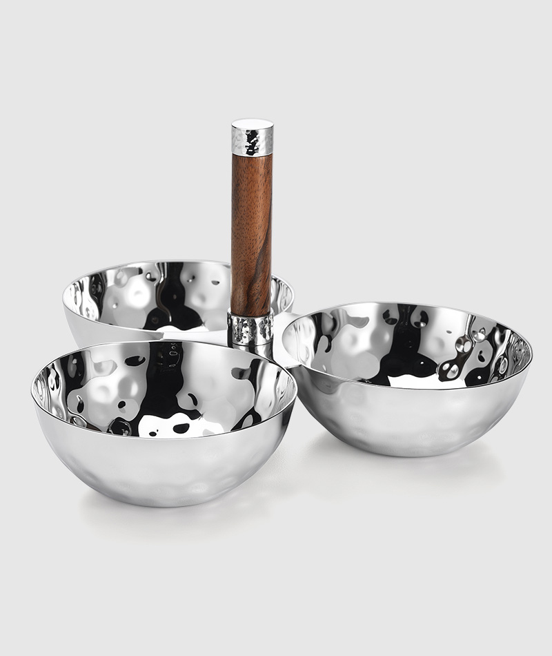 Sierra Metal 3 Bowl Set. Perfect Wedding Gift. Matches and home interior Decor